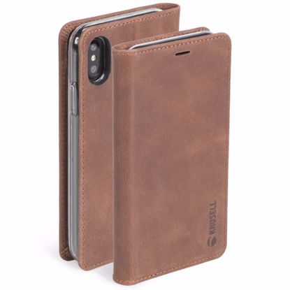 Picture of Krusell Krusell Sunne 4 Card Folio Case for Apple iPhone XS/X in Vintage Cognac