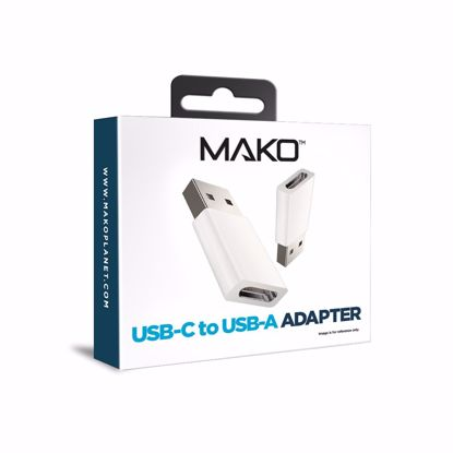 Picture of Mako Mako USB-C to USB-A 2.0 Cable Adapter in White
